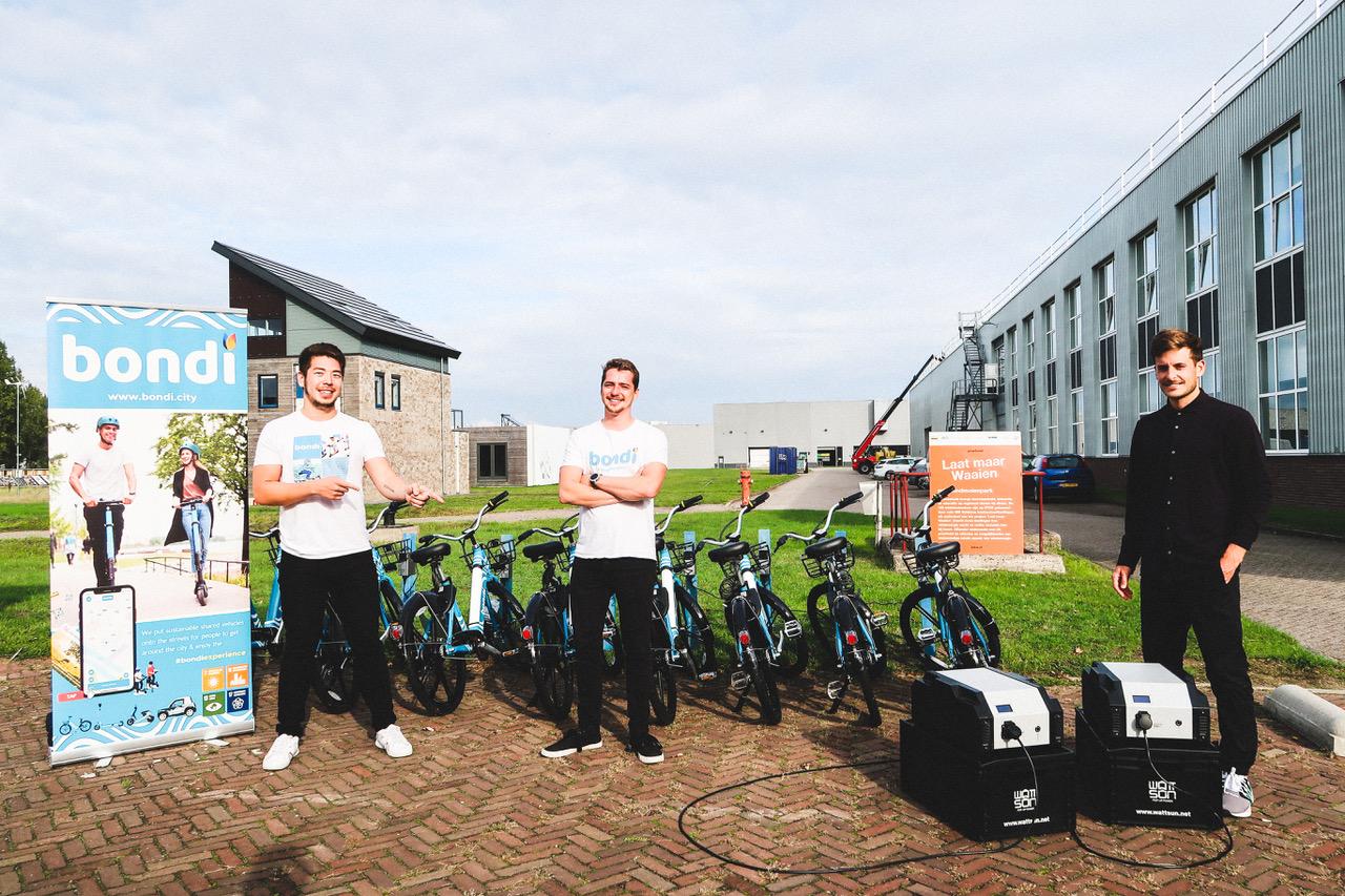 Elektrische deelfietsen van start-up Bondi in samenwerking met Wattsun op IPKW
